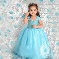 2016 Azul de Manga Curta Meninas Vestido Elsa Anna Princesa Traje Dos Desenhos Animados Do Bebê Vestido de Crianças Vestido de Aniversário Vestido de Festa