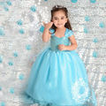 2016 Blue Short Sleeve Girls Dress Elsa Anna Costume Princess Dress Baby Kids Dress Birthday Cartoon Party Dress