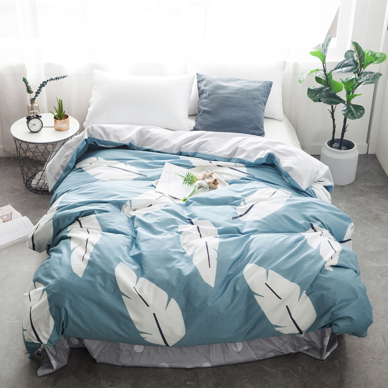 White Feathers Blue 3/4Pcs Bedding Sets Twin Queen King Size Cotton Bedlinens Duvet Cover Sheet Pillow Cases Bedclothes