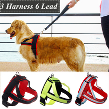 Buffer Large Dog Harness Strong Outdoor Drawstring Walking Medium Big Breeds Animals Pet Collar With Lead Leashing Set Products(China)