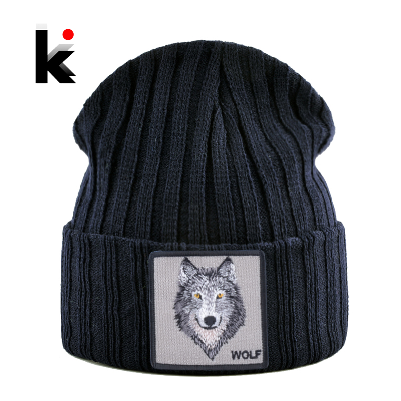New Fashion Knitted Hats For Men Women Wolf Pattern Skullies Beanies Unisex Knitting Streetwear Hip Hop Bonnet Caps Kpop Gorras