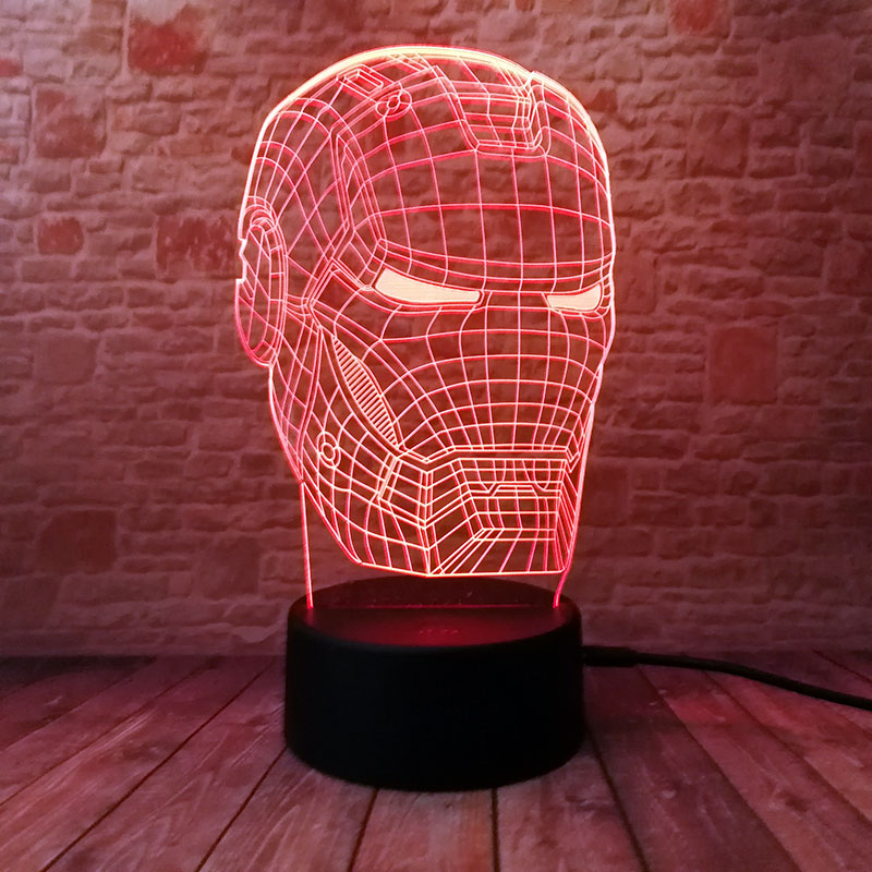 El hombre de hierro de Ironman luminosa 3D ilusión luz de noche LED colorido luz intermitente vengadores figura de hombre máscara modelo Juguetes