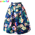Women Midi Pleated Skirts Vintage Floral Printed Ball Gown High Waist Flared Knee Length Skater Skirts Saias Femininas SK046