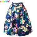 Women Midi Pleated Skirts Vintage Floral Printed Ball Gown High Waist Flared Knee Length Skater Skirts Saias Femininas SK046