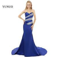 Fashionable Evening Dress Long Sweetheart Party Dress Sleeveless Crystals Dark Blue Mothers Dress Custom made x08251