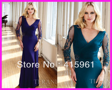 все цены на Sexy Purple V Neck Beaded Long Sleeves Chiffon Mother of the Bride Dresses Gowns M1301