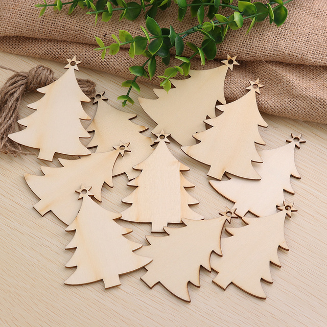 10 Pcs Christmas Tree Decor Deer Snowman Angel Wood Ornament Diy Xmas Hanging