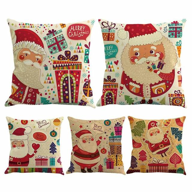 santa claus pillow cover christmas xmas throw pillow case decorative pillowcase covers home sofa car seat - Christmas Decorative Pillow Covers
