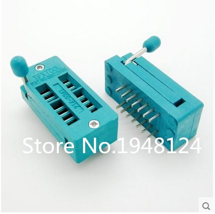 2PCS IC Test Universal ZIF Socket 14pin 14 Pin Dip 2.54mm IC Socket Pitch