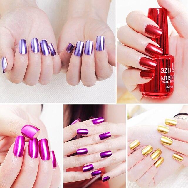 Efecto espejo de 18 ml esmalte de uñas metálico Multicolor oro plata cromo uñas Arte para uñas manicura laca uñas arte TSLM1