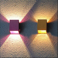 Modern Creative Small Cube 4 Colors Aluminum Led Wall Lamp for Living room Background Aisle Balcony Porch Light 1581