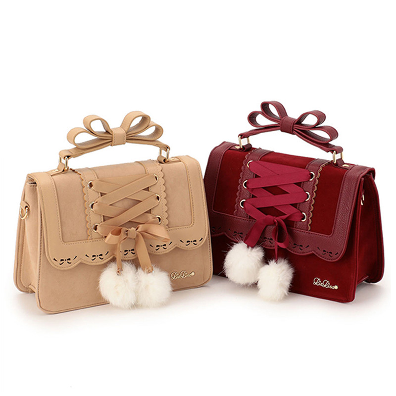ARTMOMO 2017 New Fashion Liz Lisa Cute Bow Shoulder Bags Women Sweet Red Handbag Famous Brand Designer Girl Leather Shoulder Bag