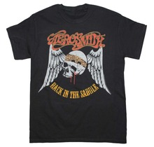 Funny Graphic Tees Short Sleeve Casual Aerosmith Back In The Saddle Skull Logo Crew Neck Mens Tee Shirts