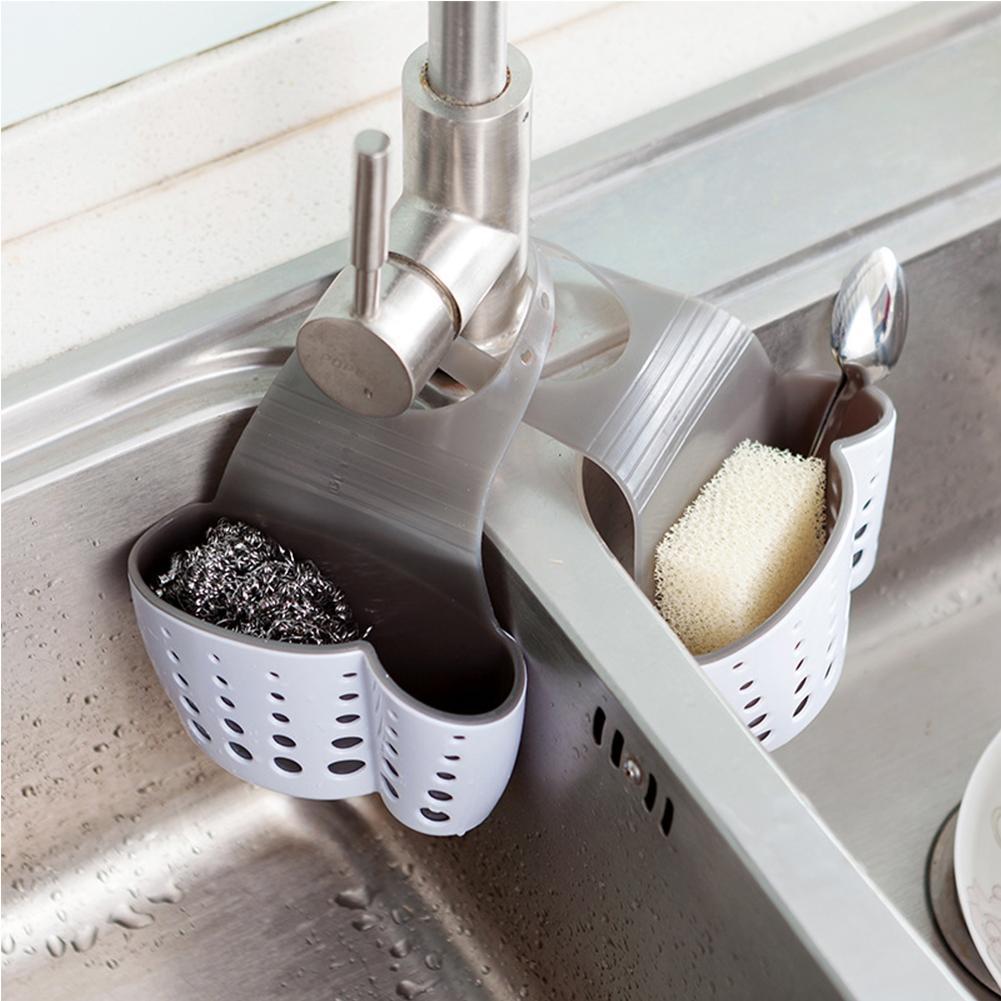 Adeeing Kitchen Sink Shelf Soap Sponge Drain Rack Bathroom Sucker Storage Holder