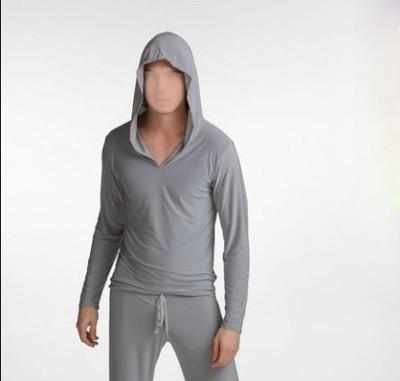 Envío libre Masculino viscosa masculino largo-manga de la camiseta ocasional con una capucha de Los Hombres Pijamas