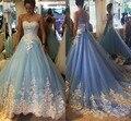 Increíble Colorido Árabe Encaje Vestidos de Quinceañera Azul Y Blanco de La Princesa Boda Vestidos de Fiesta de La Vendimia Vestidos de Novia