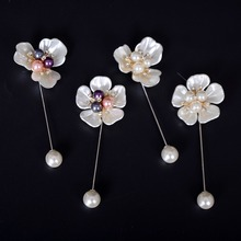 1 PC Chic Flower Shaped Simulated Pearl Brooches Women Party Wedding Long Pin Brooch For Best Jewelry Gift cmajor flower shaped brooch with pearl jewelry silver gold color brooches for women