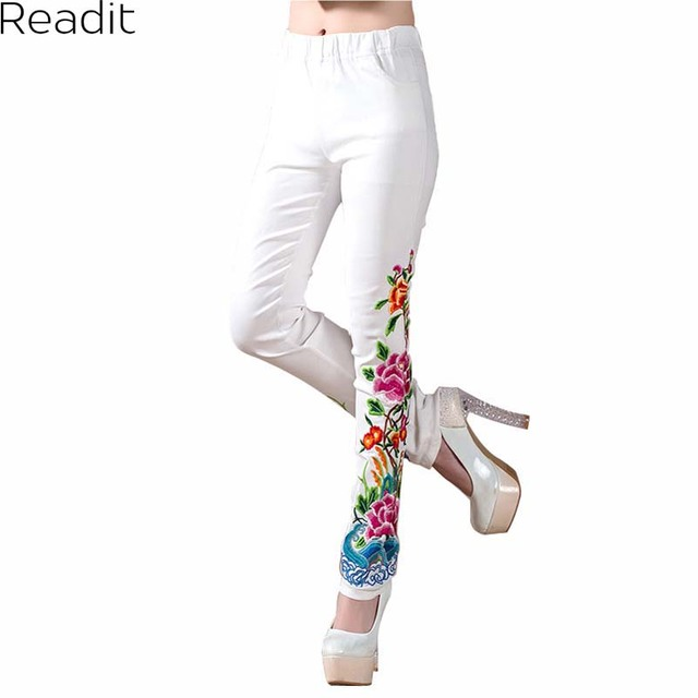 Black And White Trousers Spring Autumn Women New Large Size Casual Embroidery Flowers Skinny Elastic Waist Long Pant P1802