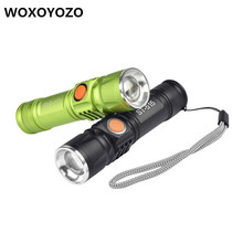 Фотография USB Inside Battery Cree XML-T6 Powerful 2200LM Led Flashlight Portable Light Rechargeable Tactical LED Torches Zoom Flashlight