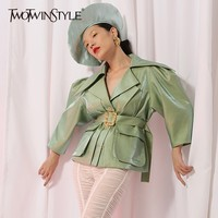 TWOTWINSTYLE Puff Sleeve Jacket Coat Women Lace up Vintage Coats Tops Female Fashion England Style Clothes 2018 Autumn New