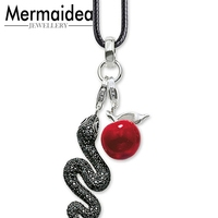 European Brand Black Zirconia Snake Red Apple Pendant Necklaces European Piercing Women Jewlery Romantic Jewellery Lover Gift