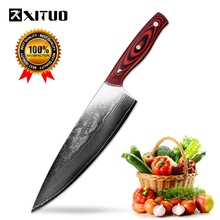 XITUO 8inch Full Tang Damascus Chef Knives VG10 Best Family Gifts Steels Kitchen European Style Cleaver Slicing Utility Tools