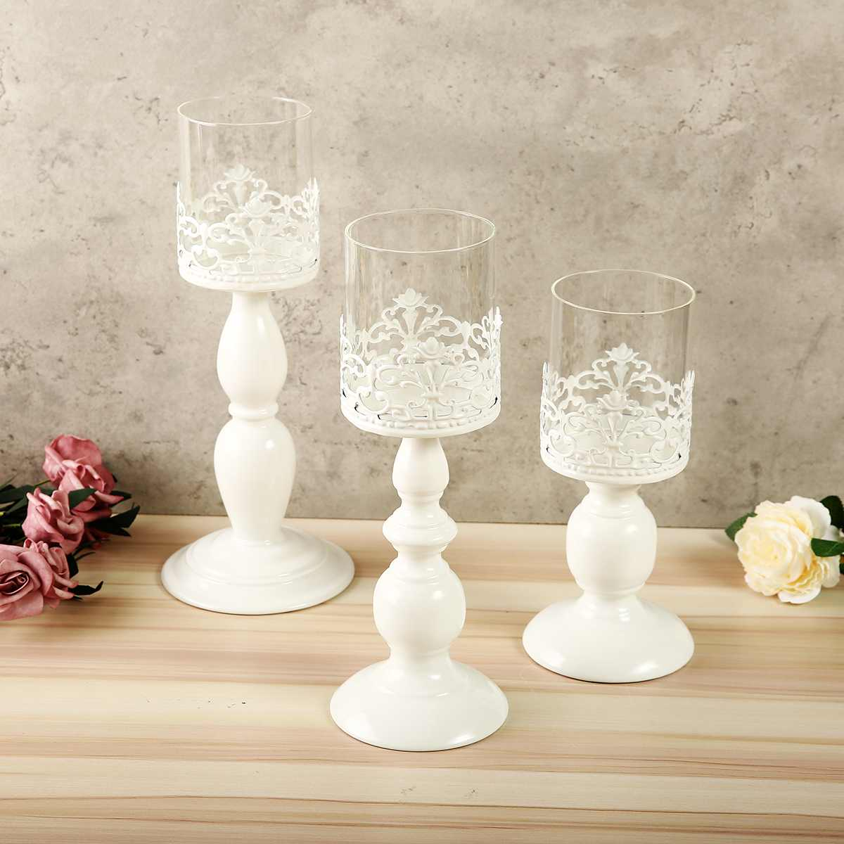 White Hollow Candle Holders Tealight Candlestick Vintage Candle Stand Wedding Decorations Gift