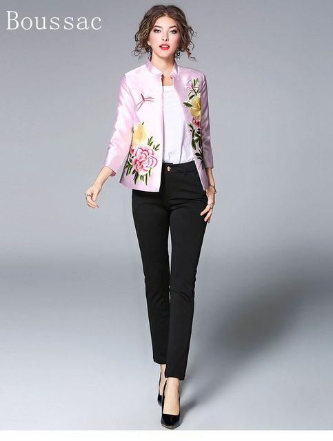 【送料無料】新到着春のファッションビッグサイズの中国風の牡丹刺繍ショートセクションドレスウールのジャケット