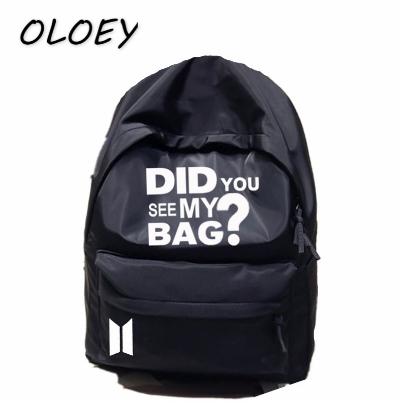 BTS Backpack Korea Bangtan Boys Star Bag Did You See My Bag Print Army Back Packs Travel Laptop Bag Student School Book Bag# свитшот print bar why see