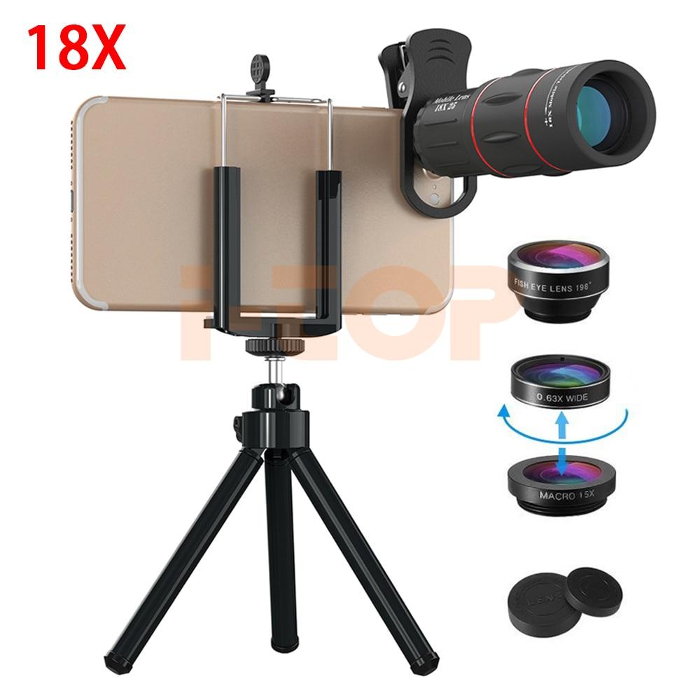 New Phone lens Kit HD 18X Telephoto Zoom Lenses 198 Fisheye 0.63X Wide Angle 15X Macro lentes For iPhone 6 6s 7 8 Plus X Xiaomi