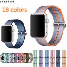 CRESTED Woven Nylon strap band For Apple Watch band 42 mm 38 mm wrist bracelet watchband for iwatch band 1 2 3 watch Accessories