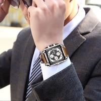 Creative Square MEGIR Men's Leather Strap Army Chronograph Quartz Wrist Watch Sports Watches Men Clock Male Relogios Masculino