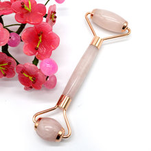 Jade Roller Natural Rose Quartz Facial Massage Face Lift Cheek Slimming Skincare Device