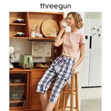 THREEGUN Pajama Pants Calf Length Women Plaid Gingham Xadrez Home Wear Cotton 20