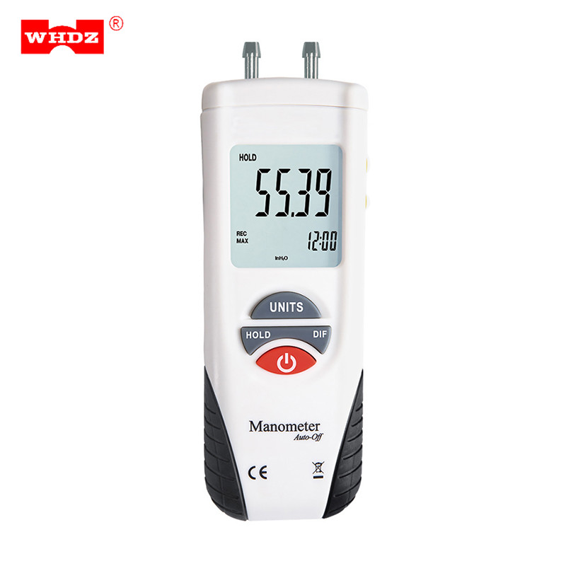 WHDZ LCD HT-1890 Digital Manometer Air Pressure Meter Pressure Gauges Differential Gauge Kit -55H2O to +55H2O Data Hold Presion as510 digital mini manometer with manometer digital air pressure differential pressure meter vacuum pressure gauge meter