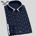 Camisa de los hombres Impreso 2017 Nueva Llegada Masculina Casual de Negocios de la Marca clothing manga larga chemise homme camisas de hombre más tamaño 5xl N1189