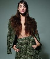Gros Frais fruits vert de haute qualité grain tissé tricot tissu de laine robe, satin imprimé floral Processus tweed tissus polaire C325