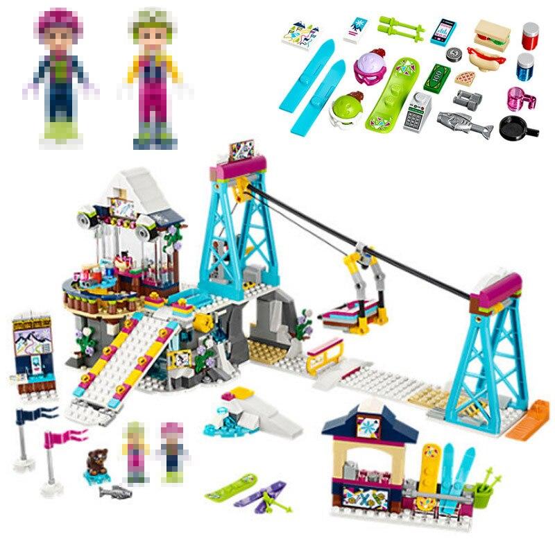 01042 632pcs Snow Resort Ski Lift Gift Club Ski Vacation Skiing Figure Building Blocks Bricks Girl Toys Compatible Legoed 41324