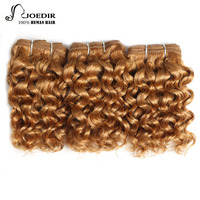 Joedir Hair Pre Colored Brazilian Hair Weave Bundles Sassy Curl 3 Bundles Blonde Color 99J Non Remy Kinky Curly Hair 100G 1 Pack