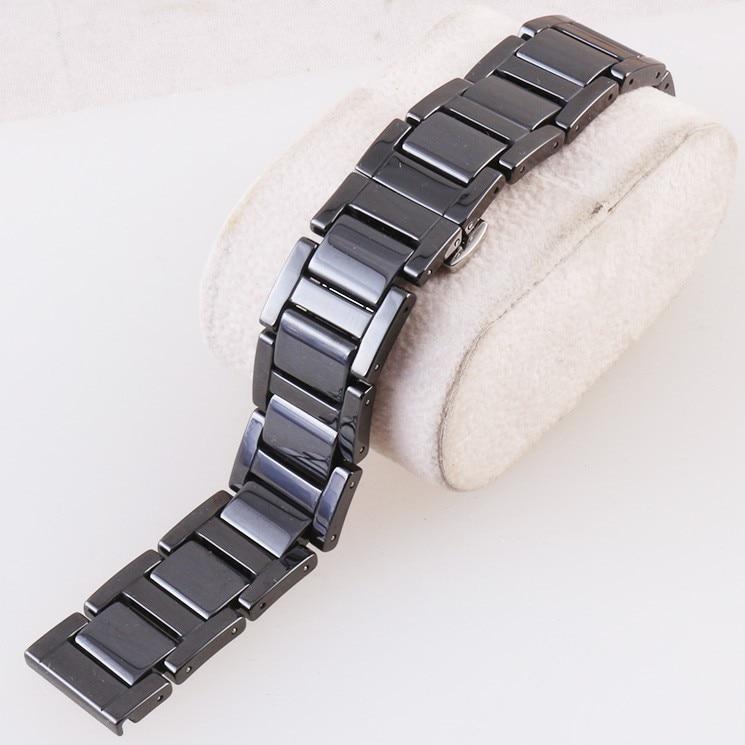 Neues 16mm 18mm 20mm Keramik und Edelstahl Schnalle Armband Weiß Schwarz Uhrenband Armband Schmetterling Schnalle Armband
