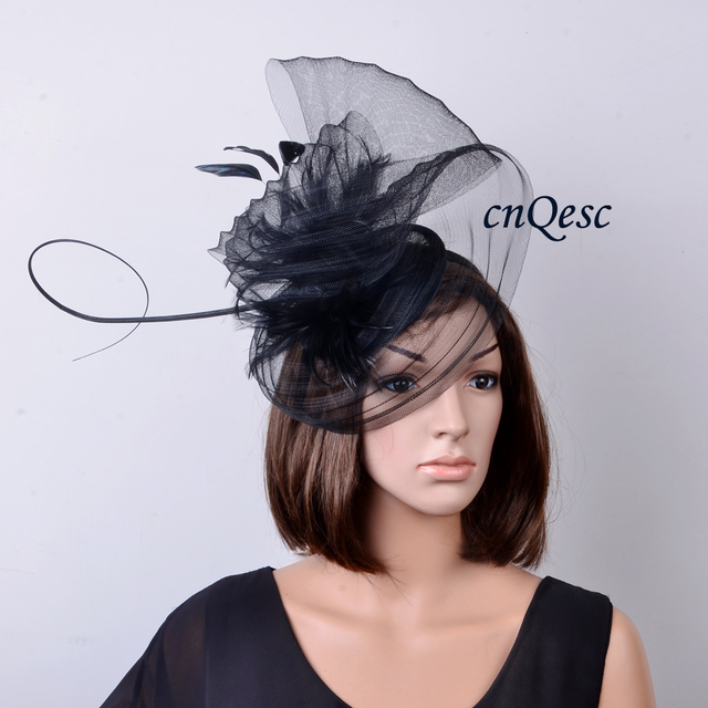 NEW Black LARGE feather Fascinator with pleated crin  sinamay base for  Kentucky Derby 2c5de5d4431