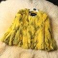 Nueva Genuina Del Conejo Chaqueta De Piel Para Mujer Caliente del Invierno de Prendas de vestir de Piel de Conejo Real Natural de Piel de Conejo abrigo de Pieles de Moda Outwear