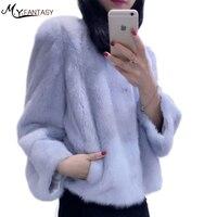 Натуральный женские пальто с мехом мода куртка Slim норки пальто с мехом Меховой жилет из натуральной пальто с мехом воротник стойка Принцесс
