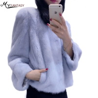 Natural women fur coat Fashion Slim jacket mink fur coat fur vest genuine fur coat Mandarin Collar Princess lantern sleeves