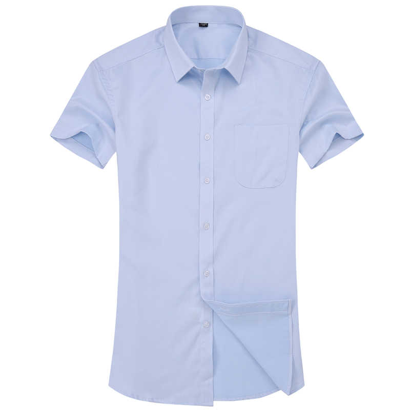男性のカジュアルドレス半袖シャツツイルホワイトブルーピンクブラック男性スリムフィットシャツ男性社会シャツ 4XL 5XL 6XL 7XL 8XL
