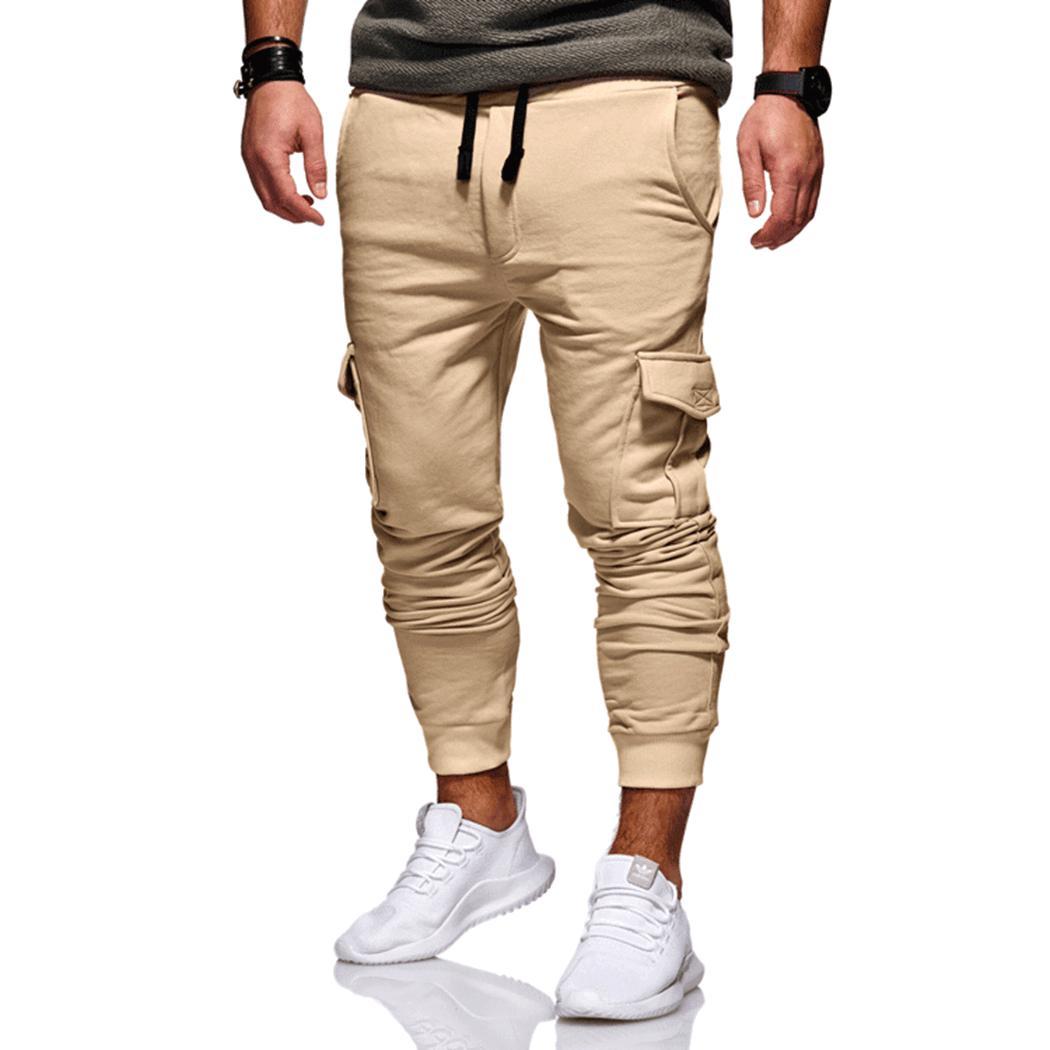 Harem-Pants Pockets Stretch Cargo Men Joggers Fitness Workout Tactical Cotton Plus-Size