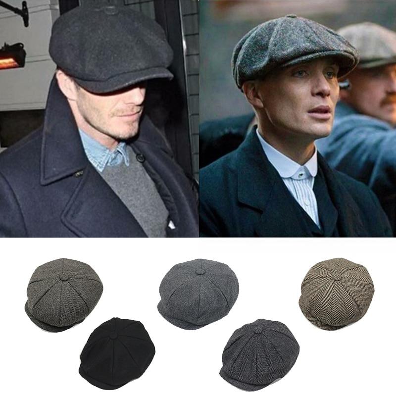 69b88e6132da1 2017 David Beckham Caps British Men Berets Caps Cotton Blend Striped  Octagonal Hats Beret Newsboy Cap for Gentleman Top Quality