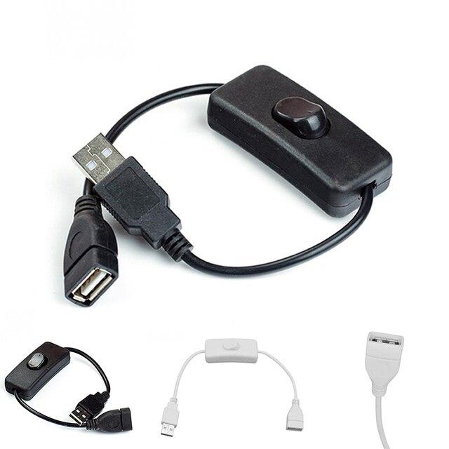 كابل يو اس بي 28 سنتيمتر USB 2.0 ذكر إلى أنثى تمديد موسع كابل أسود مع التبديل على قبالة كابل ل مروحة كمبيوتر الملحقات