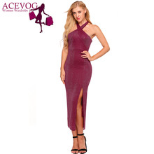 ANGVNS Women Sexy Formal Dress Halter Cold Shoulder Cross Front Split Side  Hollow Out Backless Female Vestidos Slim Party Dress a01872a96772