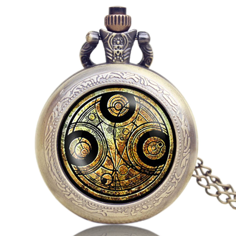 Vintage Pocket Watch Doctor Who Pendant Necklace Bronze Quartz Watch Cosplay Fashion Movie Theme Pocket Watches Man Woman GIfts